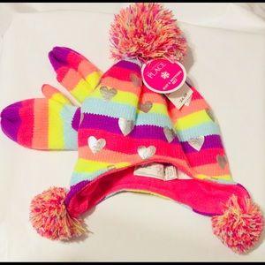 Baby Pom Pom Cap and Mittens Girls Stripes Hearts